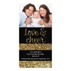 Christian Christmas Glitter Effect Love Cheer Photo Greeting Card