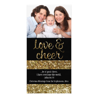 Christian Christmas Glitter Effect Love Cheer Photo Greeting Card