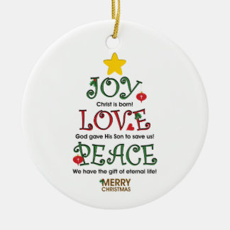 Christian Christmas Joy Love and Peace Ornament