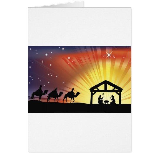 Christian Christmas Nativity Scene Card