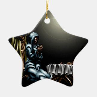 Christian Christmas Nativity Scene Double-Sided Star Ceramic Christmas Ornament