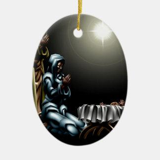 Christian Christmas Nativity Scene Double-Sided Oval Ceramic Christmas Ornament