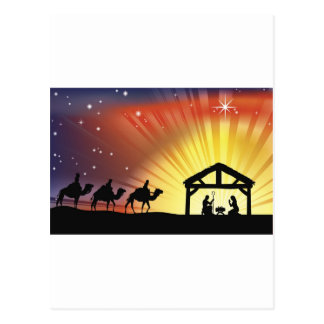 Christian Christmas Nativity Scene Post Card