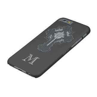 Christian chrome cross gray monogram barely there iPhone 6 case