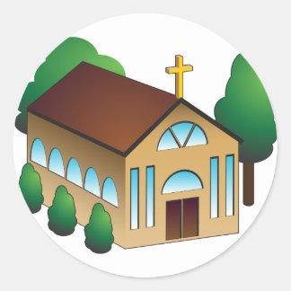 Christian Church Building Cartoon Classic Round Sticker