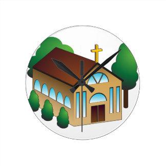 Christian Church Building Cartoon Round Clock