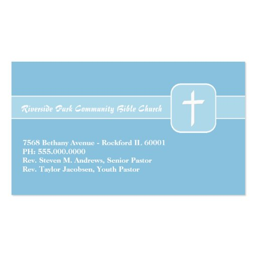 Christian church ministry blue emblem with cross business for Ministry business cards