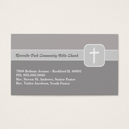 Christian Church Ministry Gray Emblem with Cross Business Card