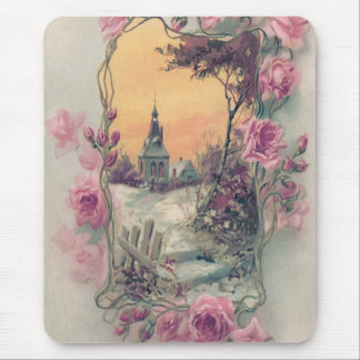 Christian Church Pink Rose Snow Mouse Pad