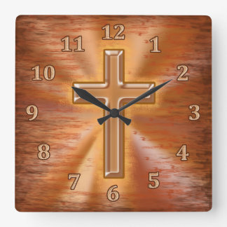 Christian Clocks with Gold Cross Grunge Background