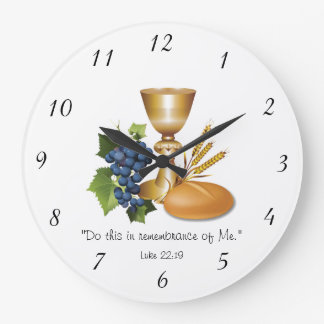 Christian Communion Luke 22:19 Bread and Wine Large Clock