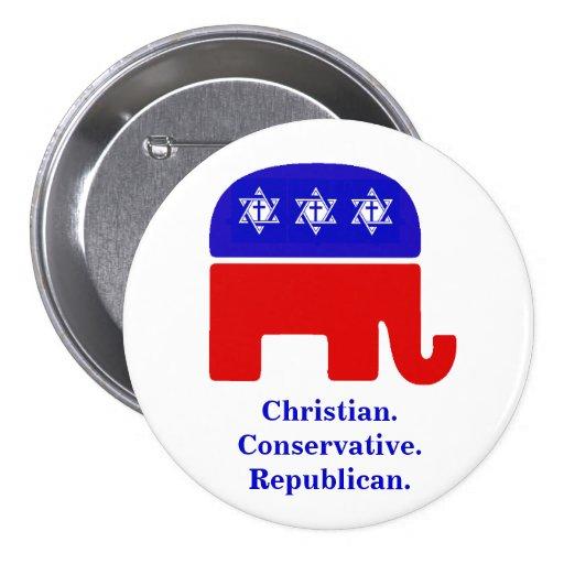 Christian. Conservative. Republican. 3 Inch Round Button