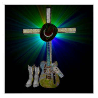 Christian Country Music (Bling) Poster
