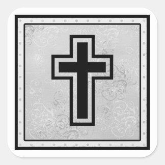 Christian Cross 2 Square Sticker