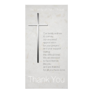 Christian Cross 3 Sympathy Thank You Photo Card