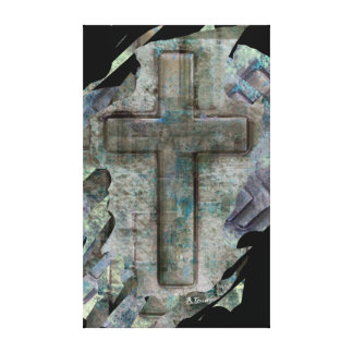 christian cross abstract artwork on wrapped canvas
