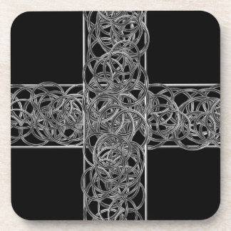 Christian Cross Arabesque Artwork Coaster