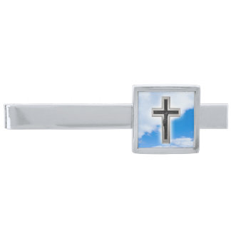 Christian cross at blue sky background silver finish tie bar