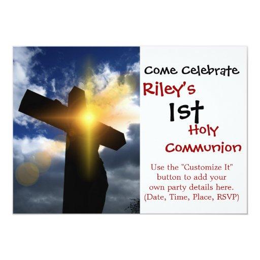 Christian cross at easter sunrise service 5x7 paper invitation card