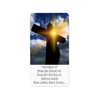 Christian Cross at Easter Sunrise Service Label