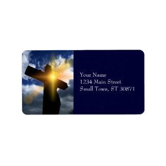 Christian Cross at Easter Sunrise Service Label