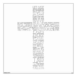 Christian Cross Bible Verses - Choose your Color Wall Stickers