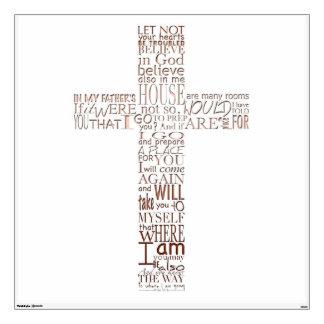 Christian Cross Bible Verses - Copper Letters - Room Sticker