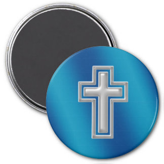 Christian Cross | Blue Background 3 Inch Round Magnet