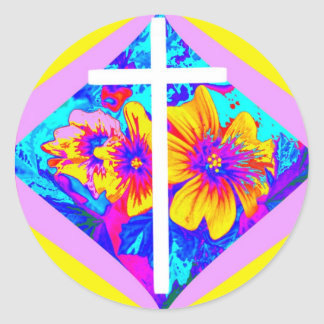 Christian Cross  CELEBRATION Florals BY SHARLES Classic Round Sticker