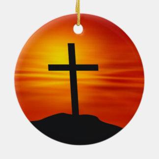 CHRISTIAN CROSS CERAMIC ORNAMENT