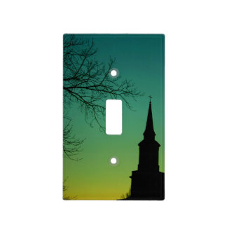 Christian Cross Church Steeple at Twilight Light Switch Covers