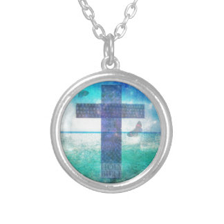 Christian Cross Contemporary  art Round Pendant Necklace