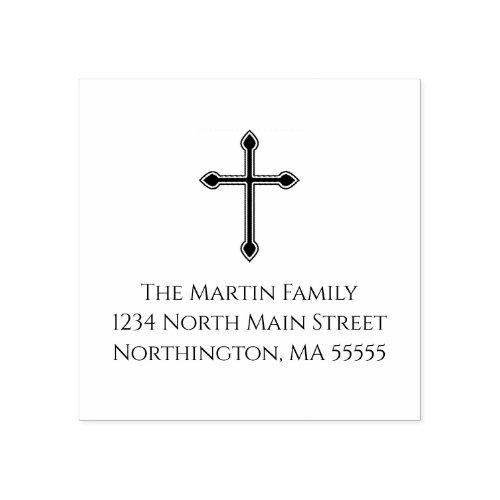 Christian Cross Custom Return Address Rubber Stamp