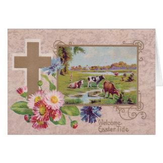 Christian Cross Daisy Cow Pasture Card