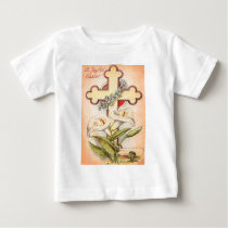 Christian Cross Easter Lily Forget Me Not Baby T-Shirt
