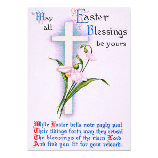 Christian Cross Easter Lily Poem Card
