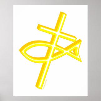 Christian Cross & Fish Poster