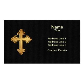 Christian Cross Fleury Gold on Black Business Card