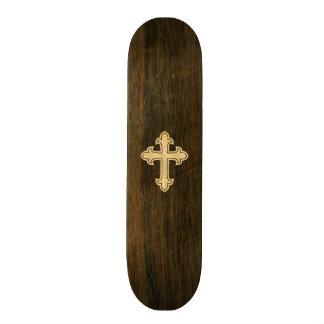 Christian Cross Fleury Maple on Rosewood Skateboard Deck
