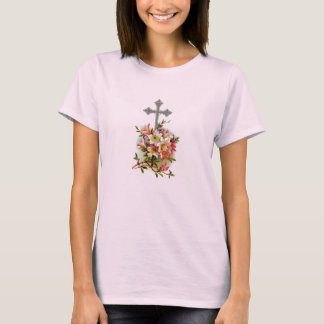 Christian Cross Floral T-Shirt