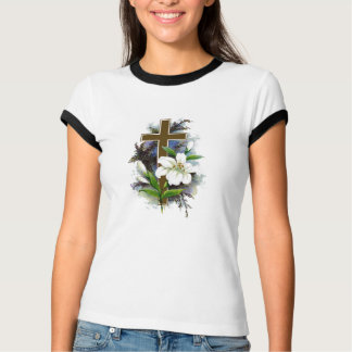 Christian Cross Floral T-Shirts