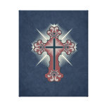 Christian cross flourish blue and red gallery wrapped canvas