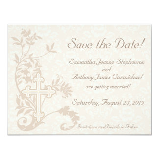 Christian Cross Flourish Save the Date Cards