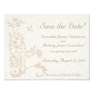 Christian Cross Flourish Save the Date Cards