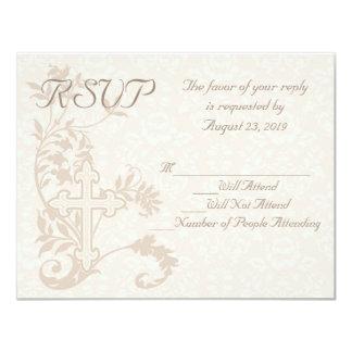 Christian Cross Flourish Wedding RSVP Card