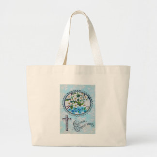 Christian Cross Forget-Me-Not Daisy Large Tote Bag