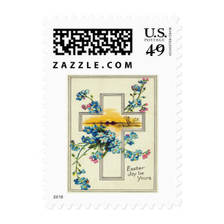 Christian Cross Forget-Me-Not Flowers Postage