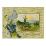 Christian Cross Forget Me Not Windmill Cow Pasture Postcards