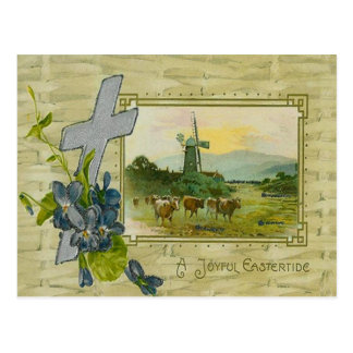 Christian Cross Forget Me Not Windmill Cow Pasture Postcard