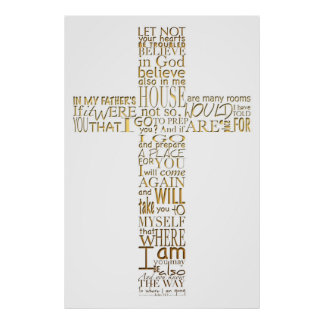 Christian Cross golden Bible Verses Poster